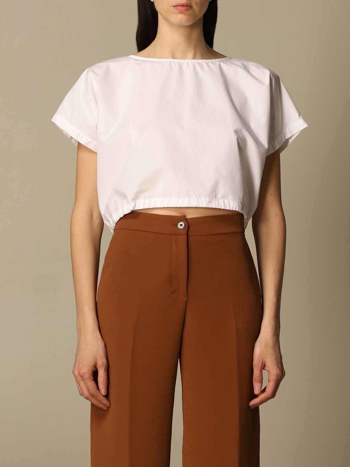 Top e Bluse Department 5: Top cropped Department Five in popeline bianco 1