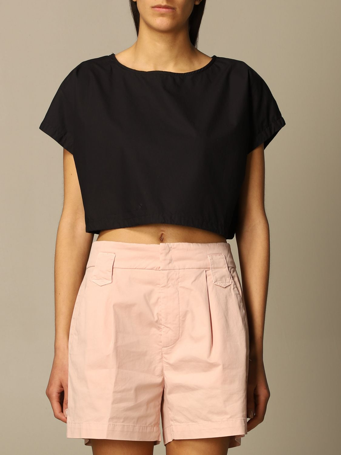 Top e Bluse Department 5: Top cropped Department Five in popeline nero 1