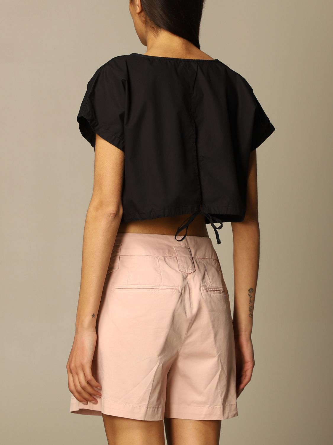 Top e Bluse Department 5: Top cropped Department Five in popeline nero 2
