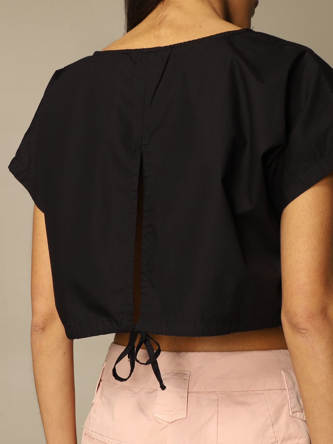 Top e Bluse Department 5: Top cropped Department Five in popeline nero 3