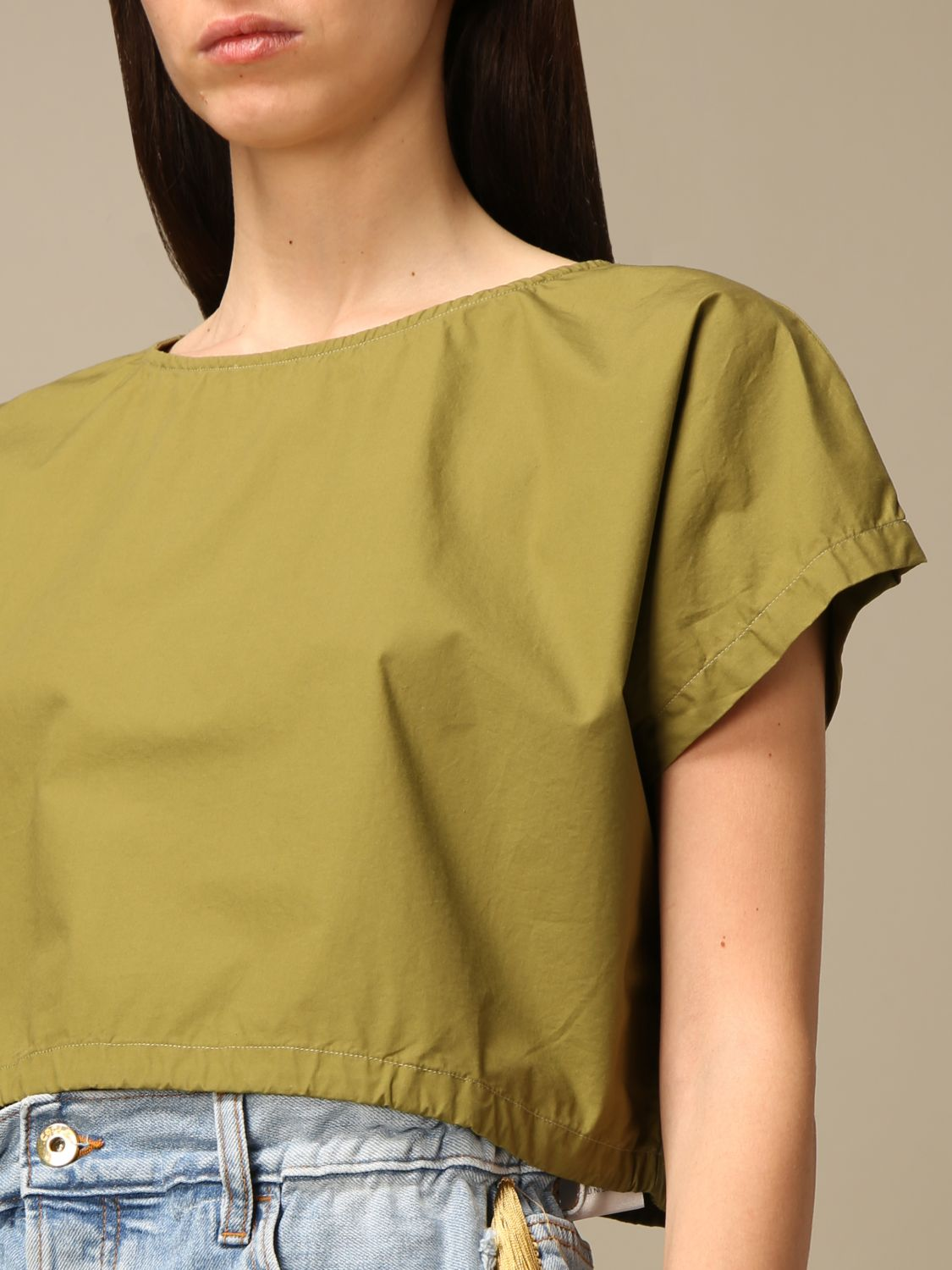 Top e Bluse Department 5: Top cropped Department Five in popeline oliva 3