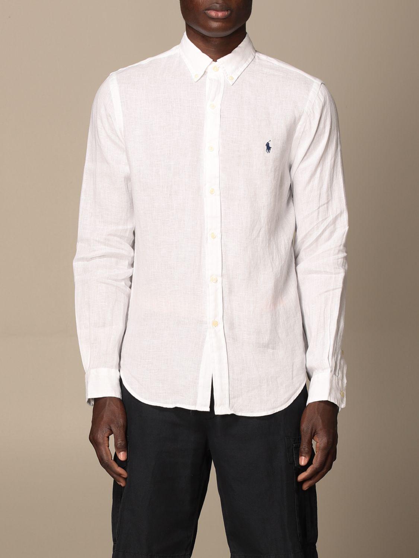 Shirt Polo Ralph Lauren: Polo Ralph Lauren linen shirt with button down collar white 1