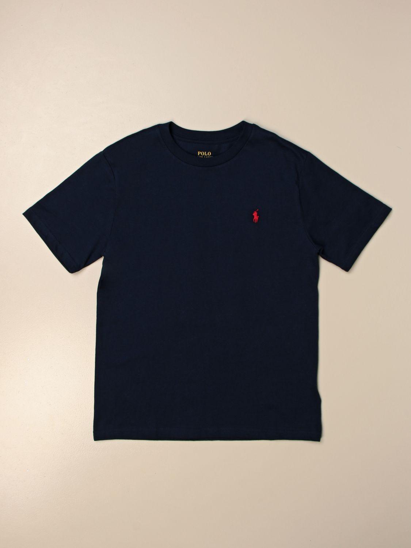 T-shirt Polo Ralph Lauren Boy: T-shirt basic Polo Ralph Lauren Boy in cotone blue navy 1