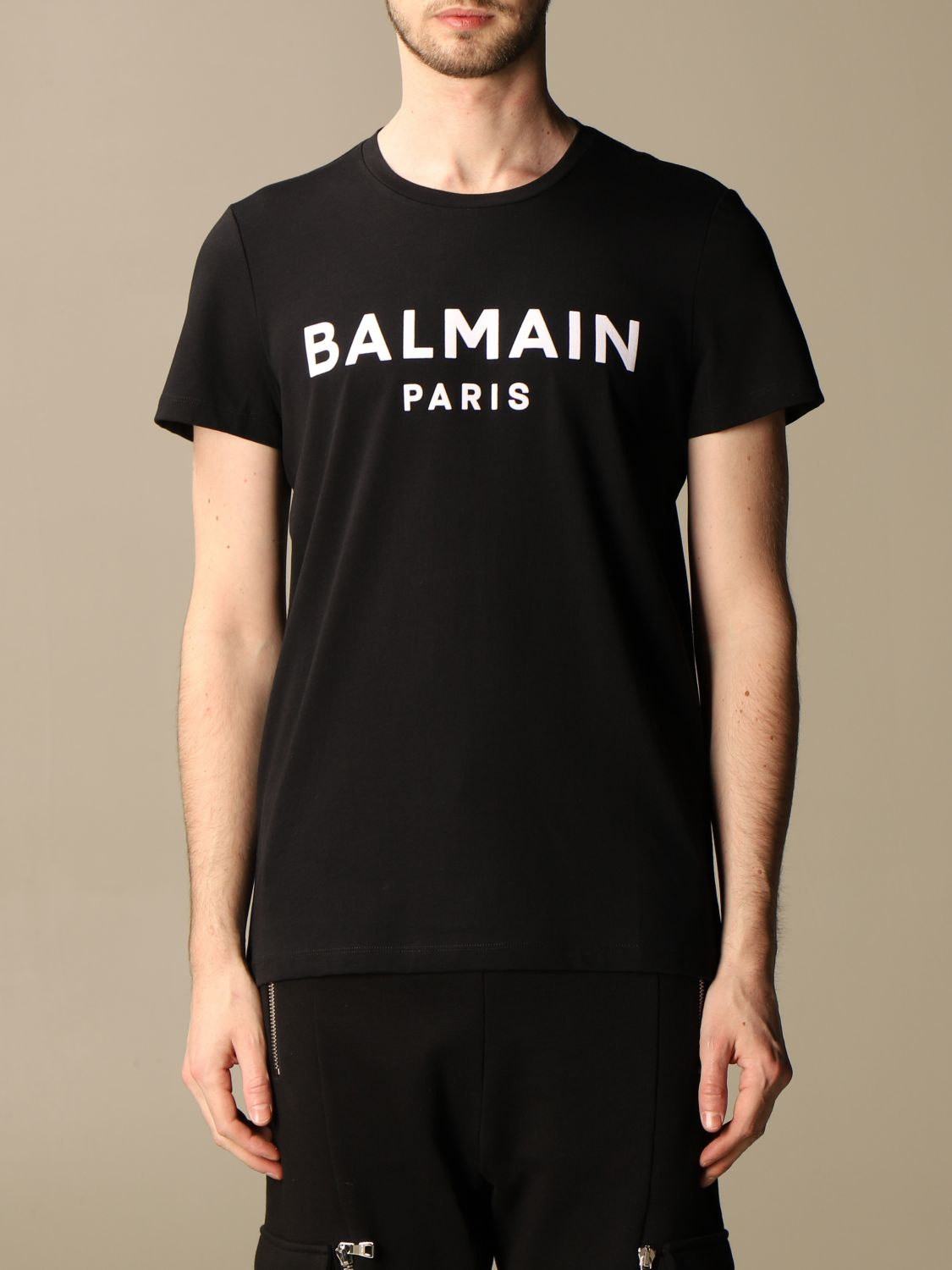 T-shirt Balmain: Balmain cotton T-shirt with flocked logo red 1