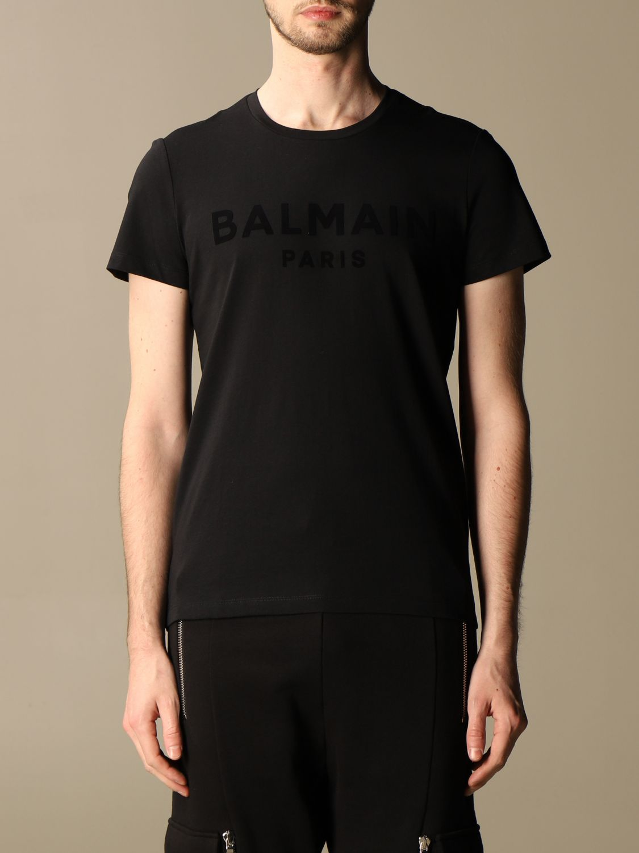 T-shirt Balmain: T-shirt Balmain in cotone con logo in floccato nero 1