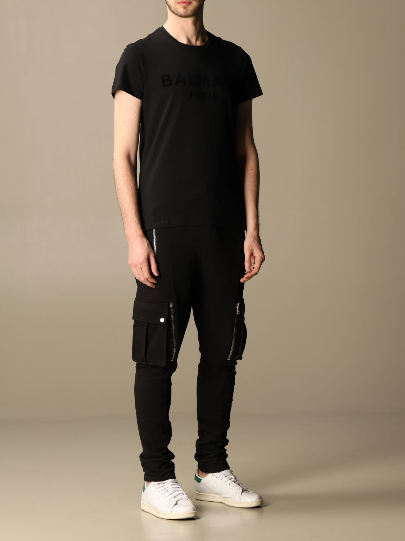 T-shirt Balmain: T-shirt Balmain in cotone con logo in floccato nero 2