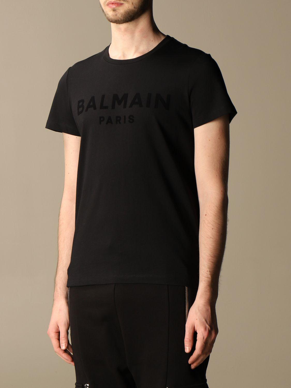 T-shirt Balmain: T-shirt Balmain in cotone con logo in floccato nero 4