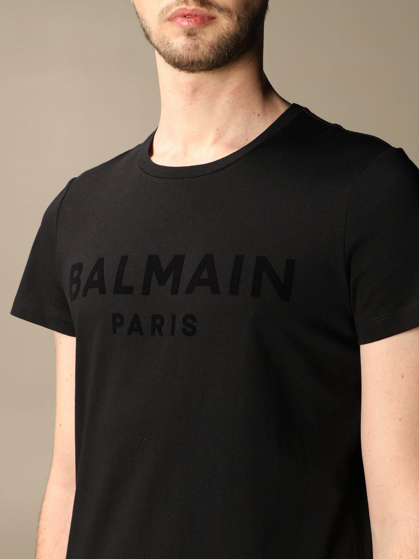 T-shirt Balmain: T-shirt Balmain in cotone con logo in floccato nero 5