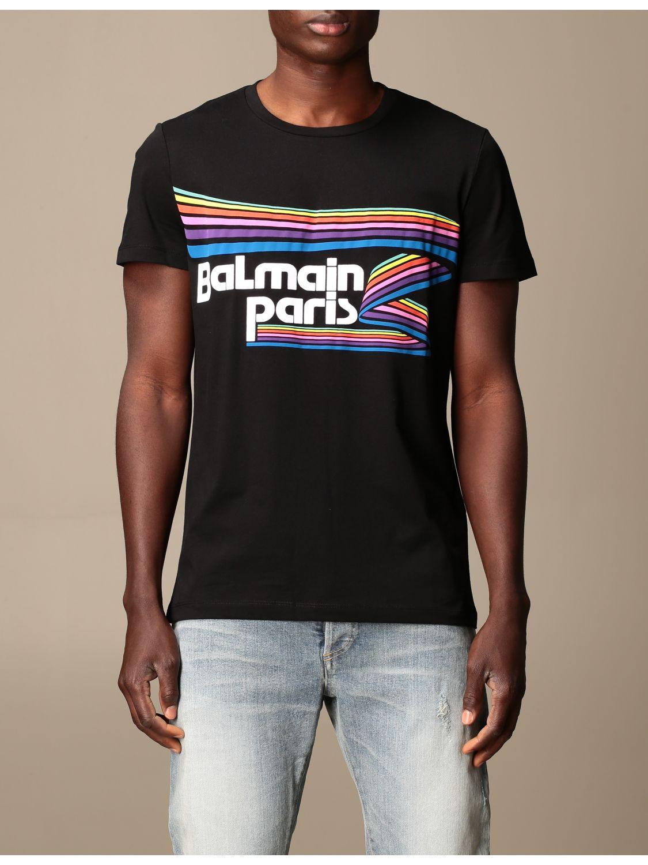 T-shirt Balmain: Balmain cotton T-shirt with logo and buttons black 1