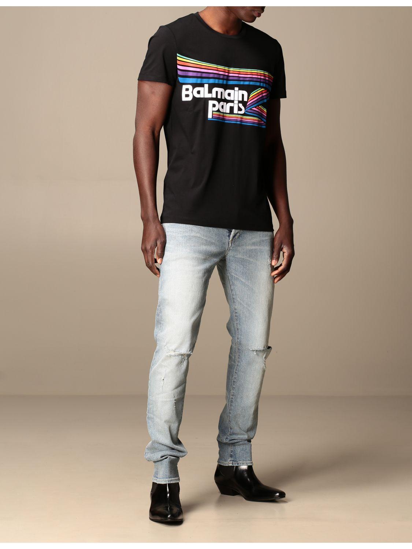 T-shirt Balmain: Balmain cotton T-shirt with logo and buttons black 2