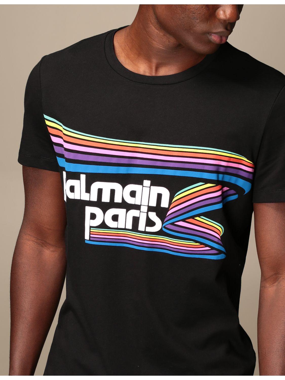 T-shirt Balmain: Balmain cotton T-shirt with logo and buttons black 4