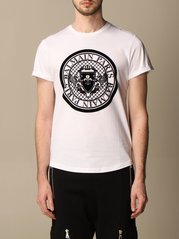 T-shirt Balmain: Balmain cotton T-shirt with flocked emblem white 1