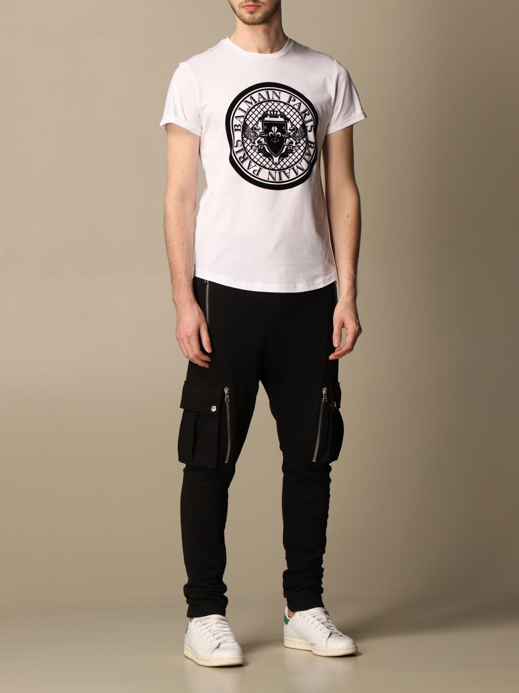 T-shirt Balmain: Balmain cotton T-shirt with flocked emblem white 2