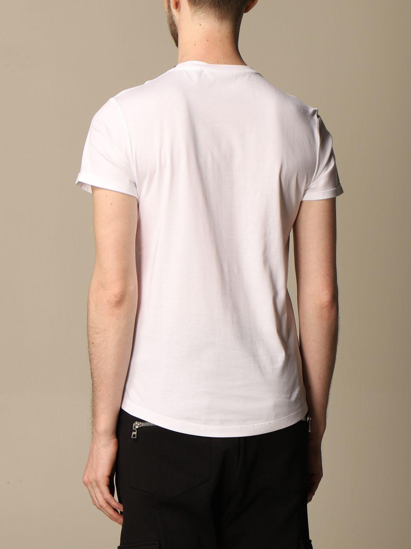 T-shirt Balmain: Balmain cotton T-shirt with flocked emblem white 3
