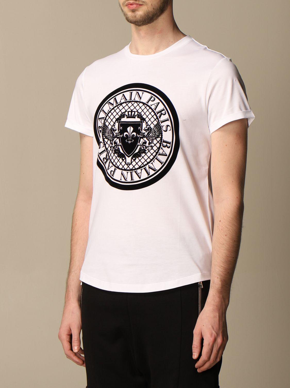 T-shirt Balmain: Balmain cotton T-shirt with flocked emblem white 4