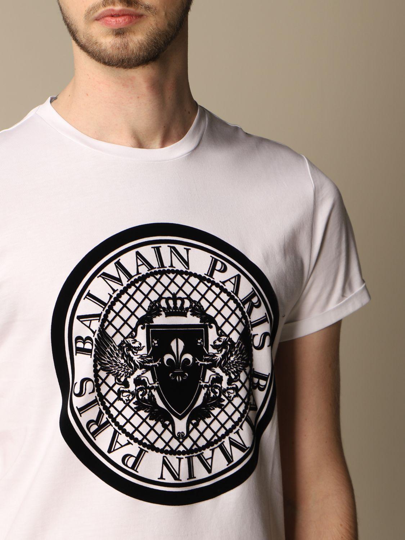 T-shirt Balmain: Balmain cotton T-shirt with flocked emblem white 5