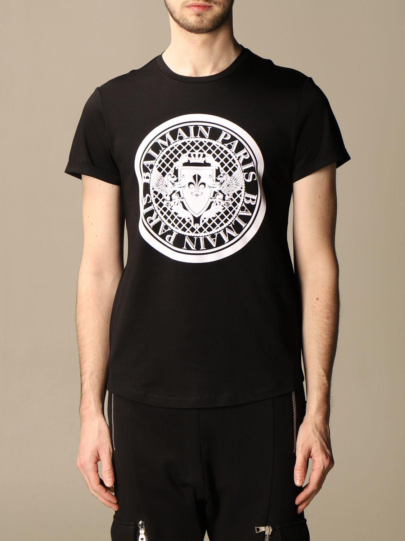 T-shirt Balmain: T-shirt Balmain in cotone con stemma in floccato nero 1