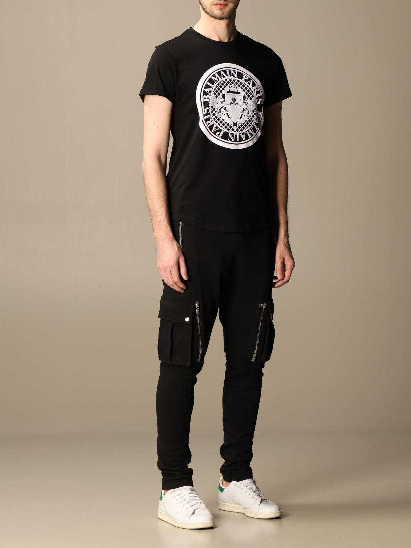 T-shirt Balmain: T-shirt Balmain in cotone con stemma in floccato nero 2
