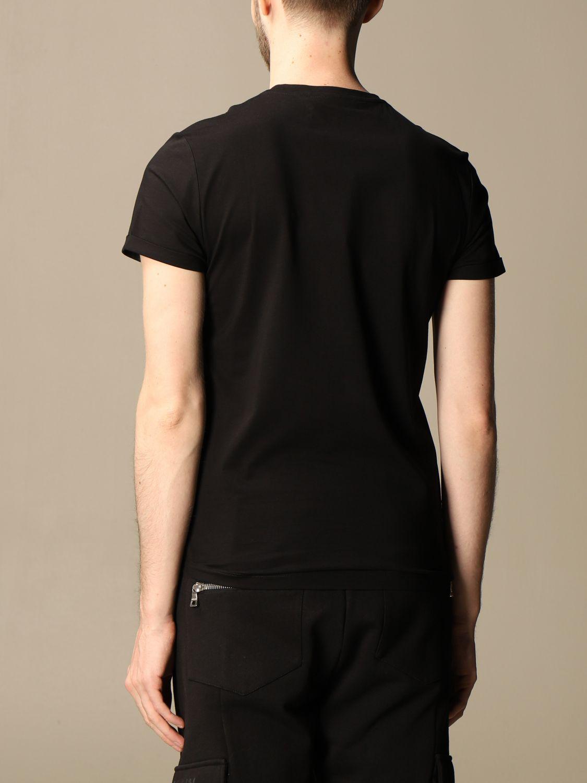 T-shirt Balmain: T-shirt Balmain in cotone con stemma in floccato nero 3
