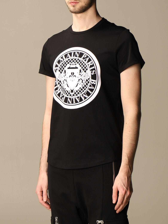 T-shirt Balmain: T-shirt Balmain in cotone con stemma in floccato nero 4