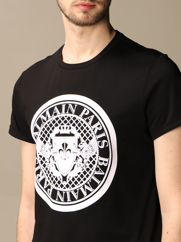 T-shirt Balmain: T-shirt Balmain in cotone con stemma in floccato nero 5