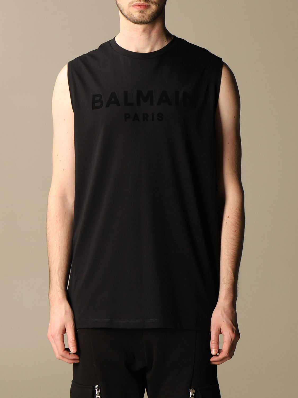 T-shirt Balmain: Balmain cotton tank top with flocked logo black 1
