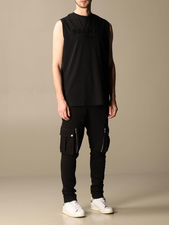T-shirt Balmain: Balmain cotton tank top with flocked logo black 2