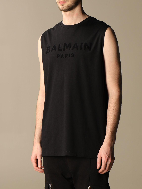 T-shirt Balmain: Balmain cotton tank top with flocked logo black 4
