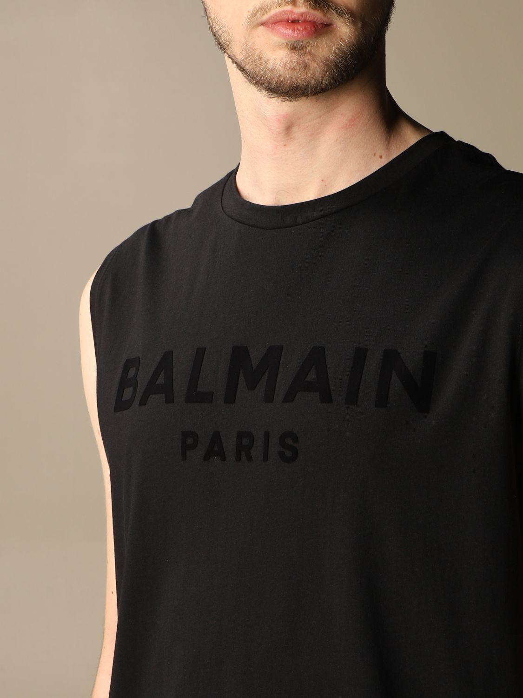 T-shirt Balmain: Balmain cotton tank top with flocked logo black 5
