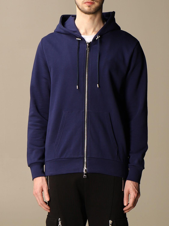 Sweatshirt Balmain: Balmain hooded sweatshirt in cotton with logo blue 1