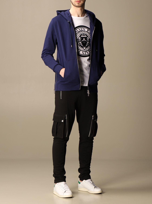 Sweatshirt Balmain: Balmain hooded sweatshirt in cotton with logo blue 2