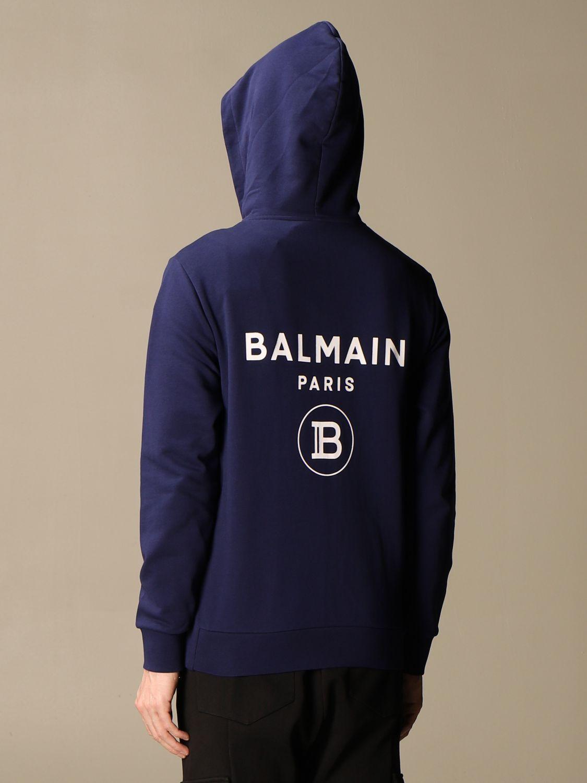 Sweatshirt Balmain: Balmain hooded sweatshirt in cotton with logo blue 3