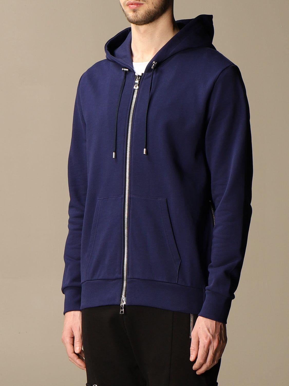 Sweatshirt Balmain: Balmain hooded sweatshirt in cotton with logo blue 4