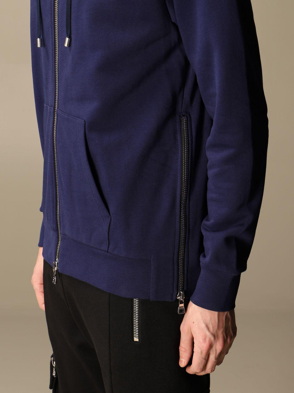 Sweatshirt Balmain: Balmain hooded sweatshirt in cotton with logo blue 5