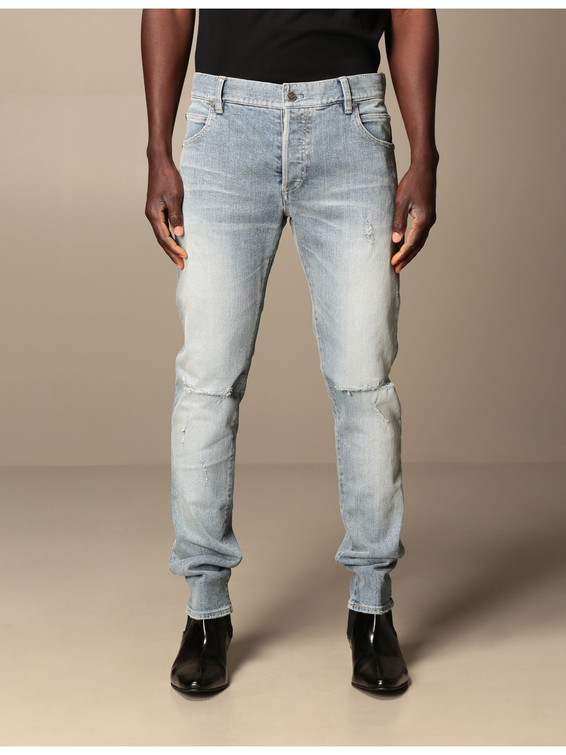 Jeans Balmain: Balmain jeans in stretch denim with logo stone washed 1