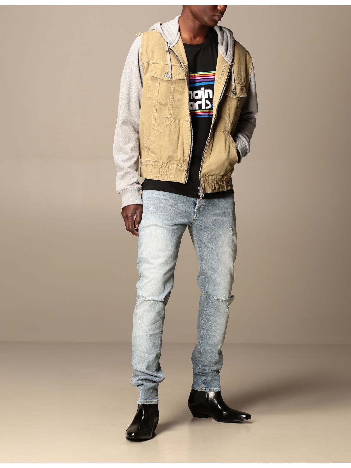 Jeans Balmain: Balmain jeans in stretch denim with logo stone washed 2