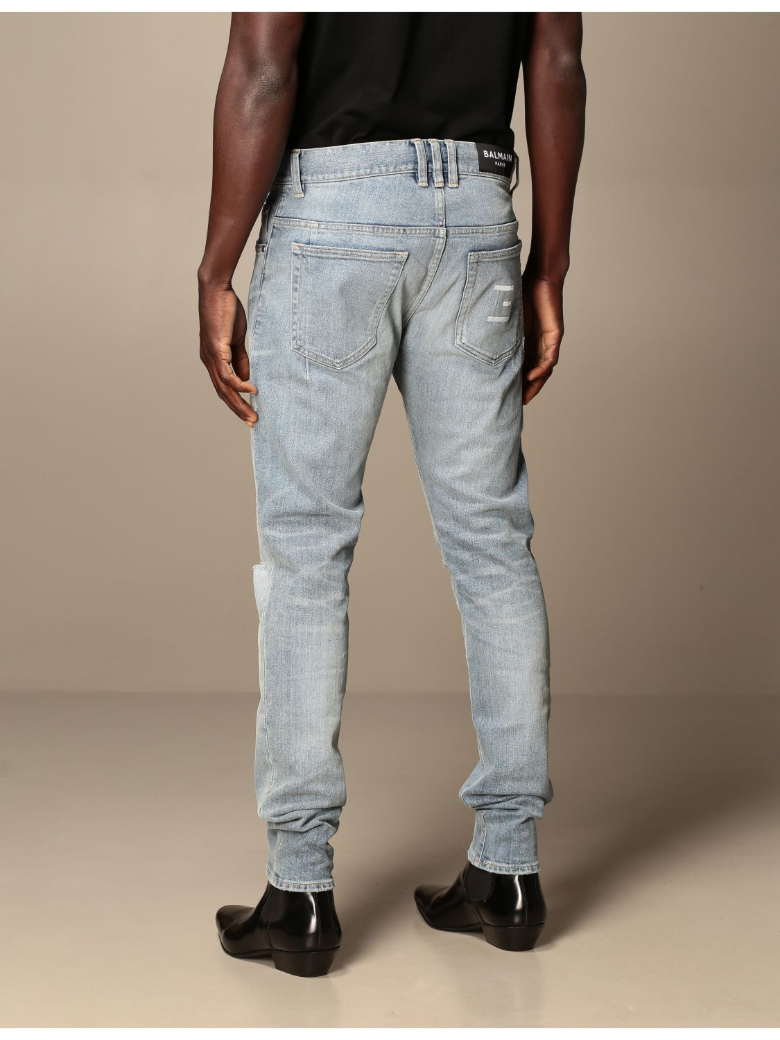 Jeans Balmain: Balmain jeans in stretch denim with logo stone washed 3