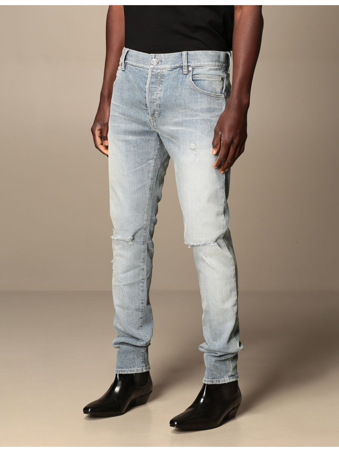 Jeans Balmain: Balmain jeans in stretch denim with logo stone washed 4