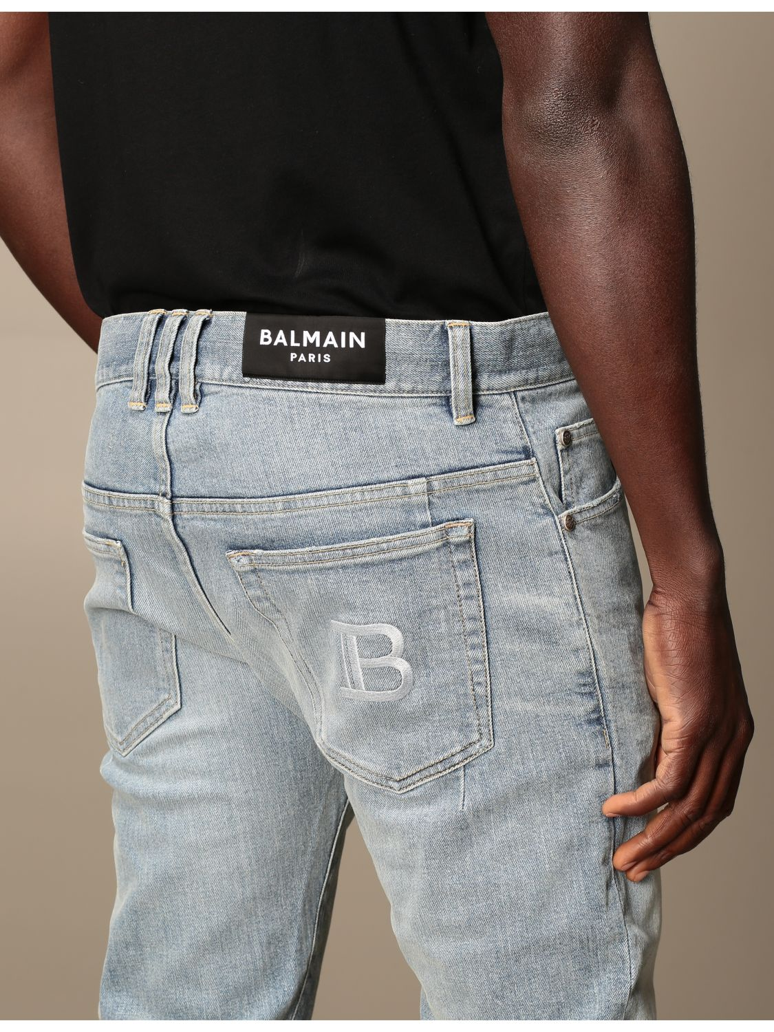 Jeans Balmain: Balmain jeans in stretch denim with logo stone washed 5