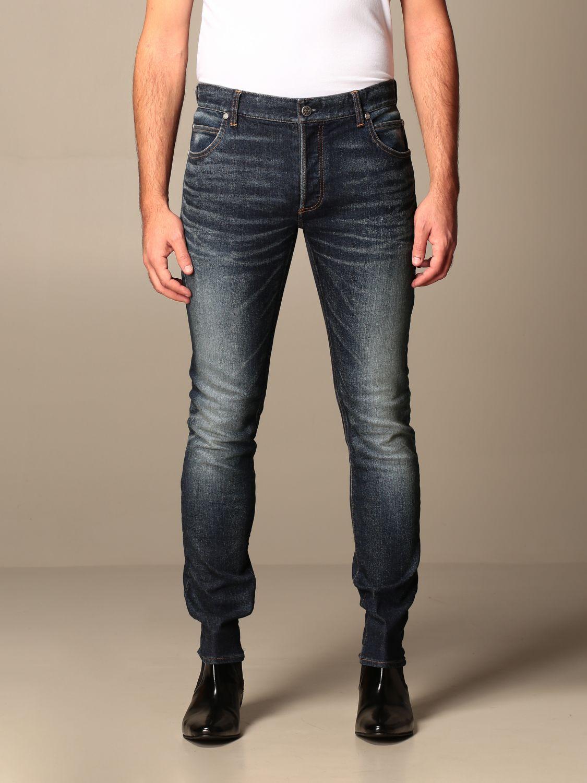 Jeans Balmain: Balmain jeans in used stretch denim with logo blue 1