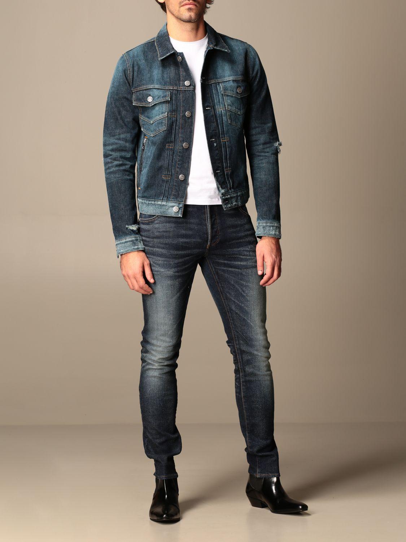 Jeans Balmain: Balmain jeans in used stretch denim with logo blue 2