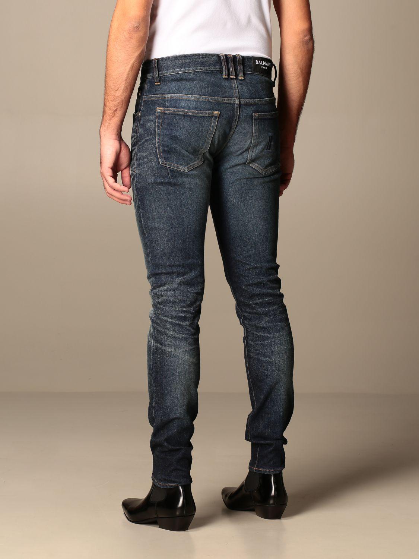 Jeans Balmain: Balmain jeans in used stretch denim with logo blue 3