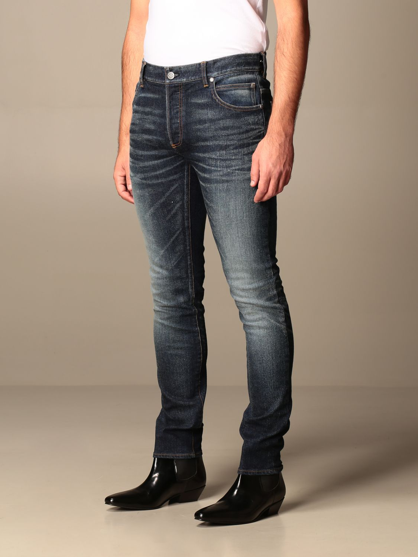 Jeans Balmain: Balmain jeans in used stretch denim with logo blue 4