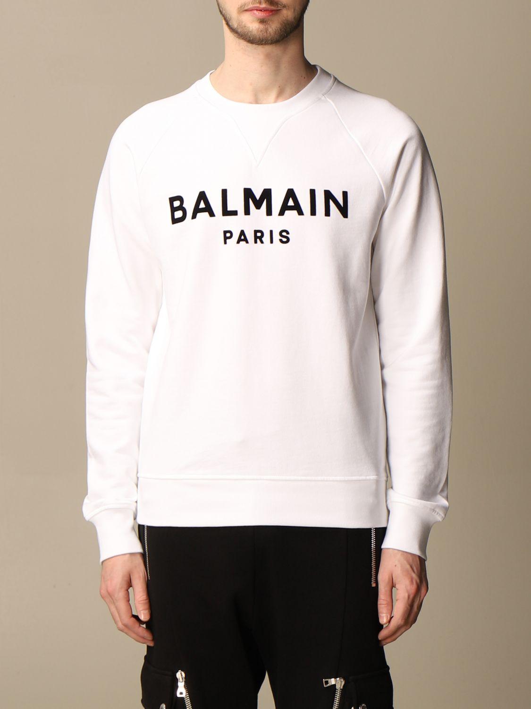 Felpa Balmain: Felpa a girocollo Balmain in cotone con logo in floccato bianco 1