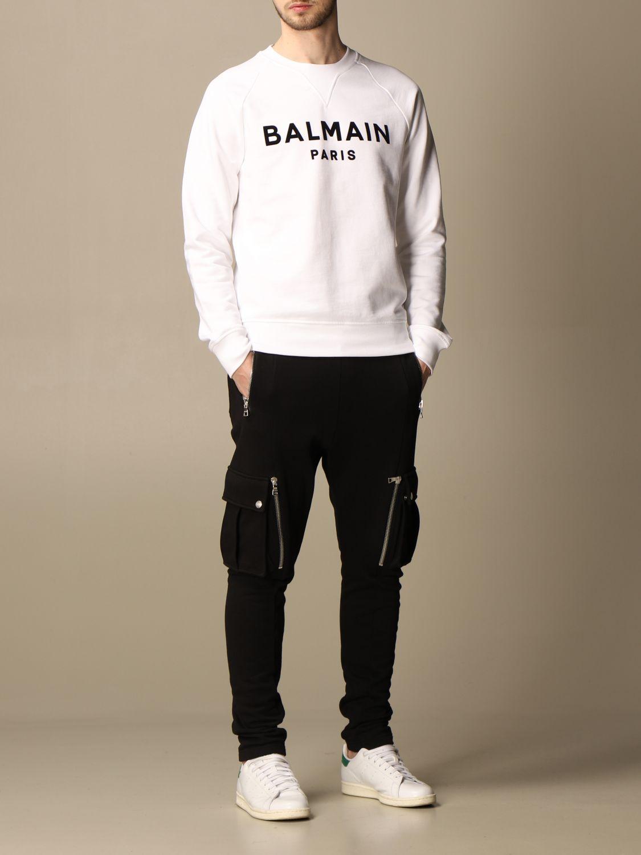 Felpa Balmain: Felpa a girocollo Balmain in cotone con logo in floccato bianco 2
