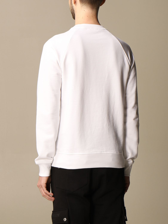 Felpa Balmain: Felpa a girocollo Balmain in cotone con logo in floccato bianco 3