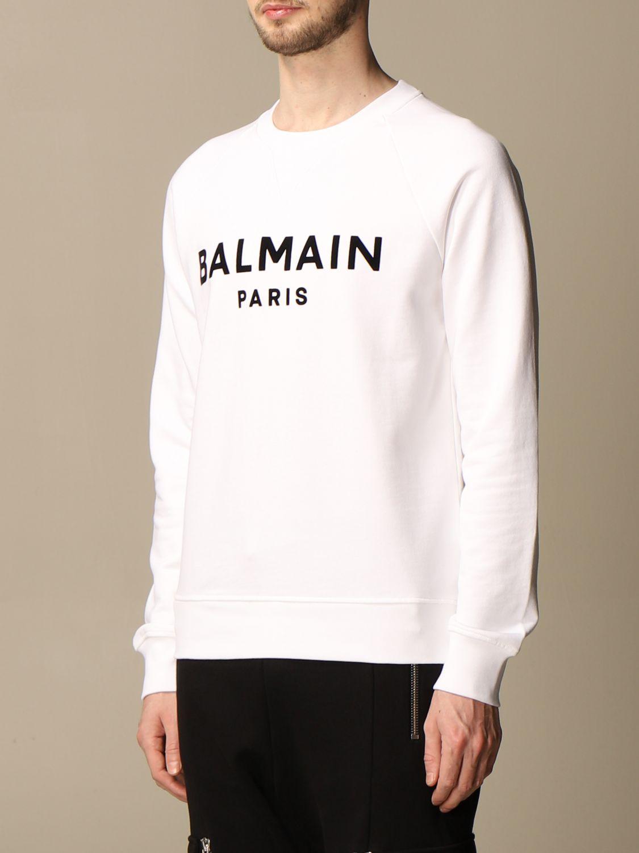 Felpa Balmain: Felpa a girocollo Balmain in cotone con logo in floccato bianco 4