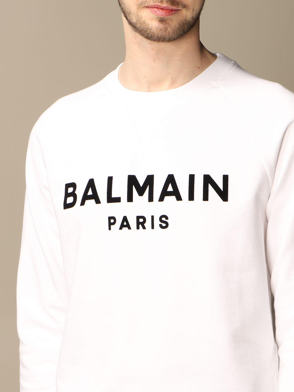 Felpa Balmain: Felpa a girocollo Balmain in cotone con logo in floccato bianco 5