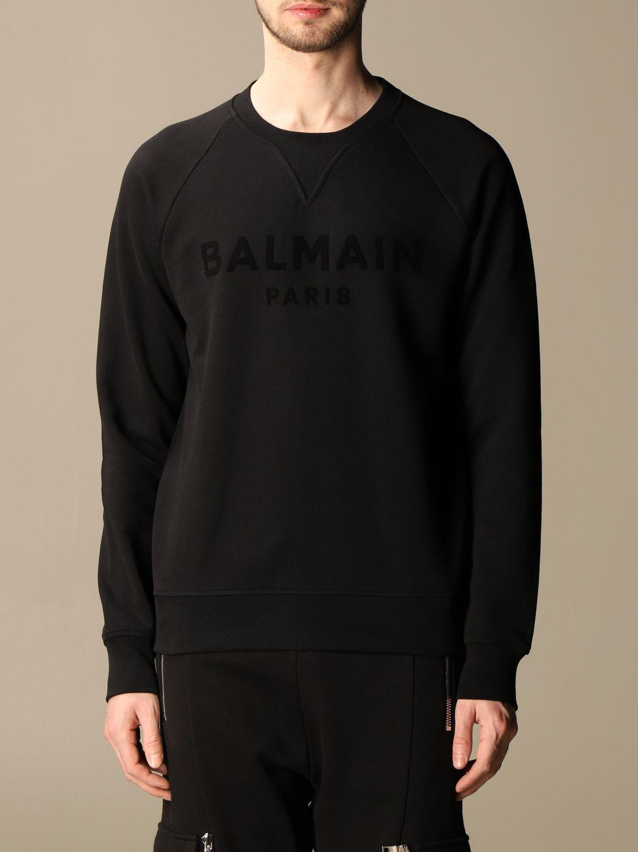 Sweatshirt Balmain: Balmain crewneck sweatshirt in cotton with flocked logo black 1