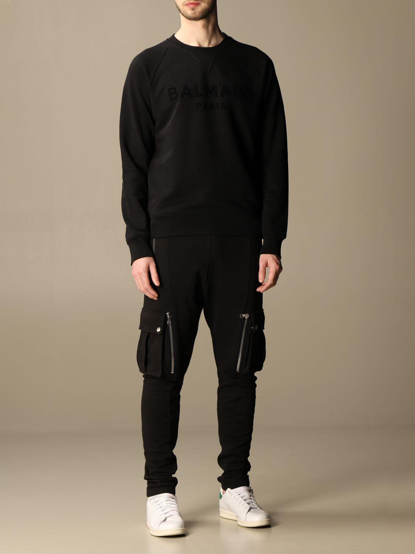 Sweatshirt Balmain: Balmain crewneck sweatshirt in cotton with flocked logo black 2